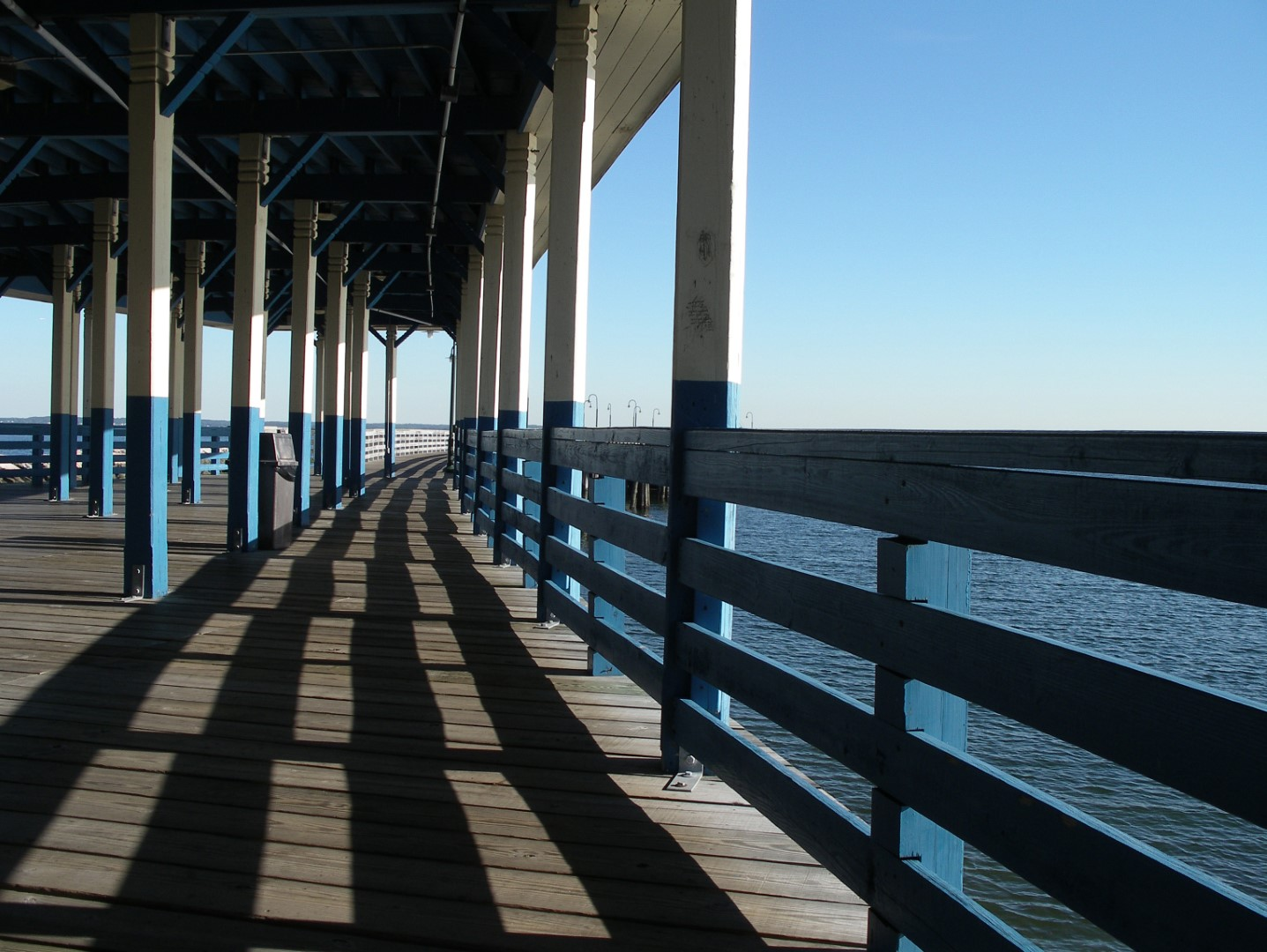 beautiful old pier with shadows
